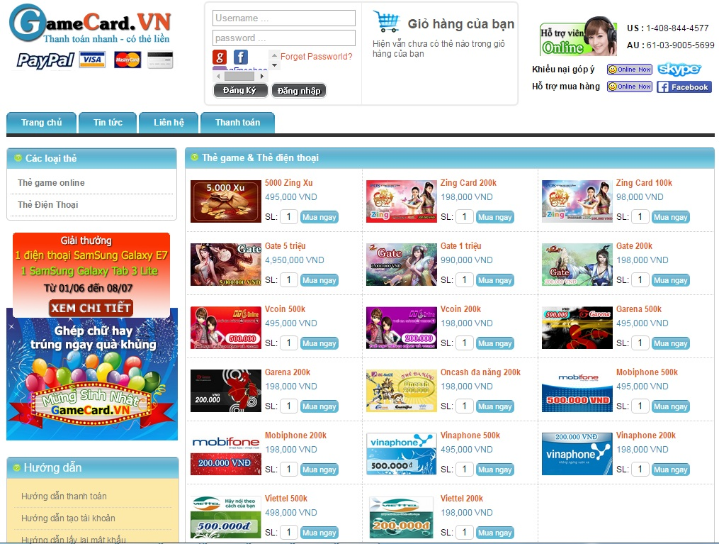 Mua card game online qua Visa/Master card 1
