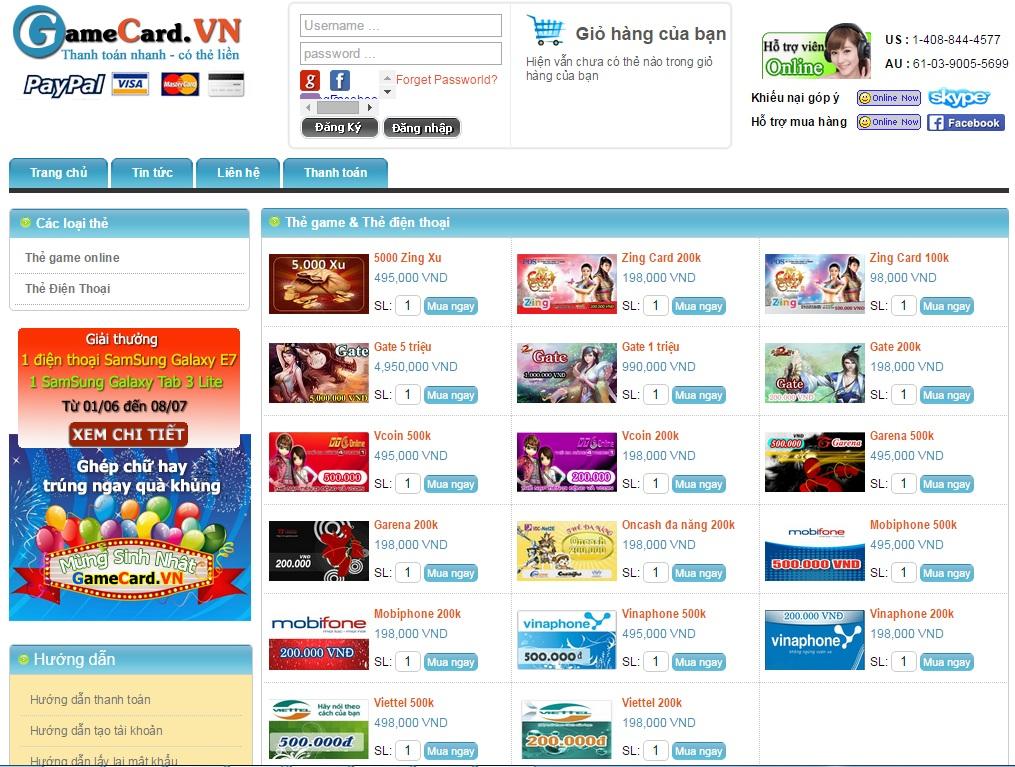 Mua card game online qua Visa/Master card 1
