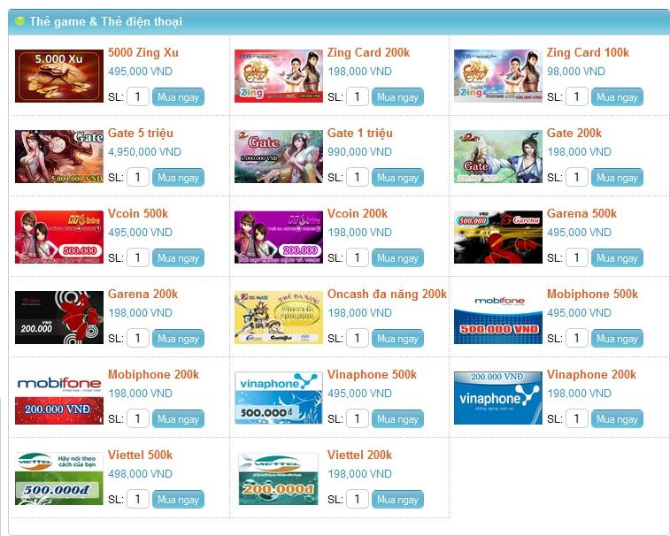 Mua thẻ game online tại gamecard 1