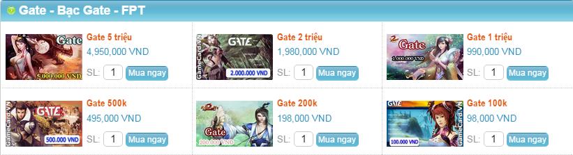 Mua thẻ Gate bằng Visa