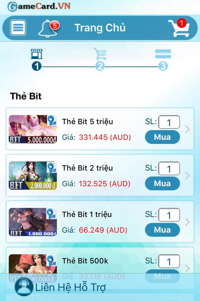 Thông Báo Mở Ứng Dụng Mua Thẻ Game GCVAE Trên Hệ Điều Hành IOS