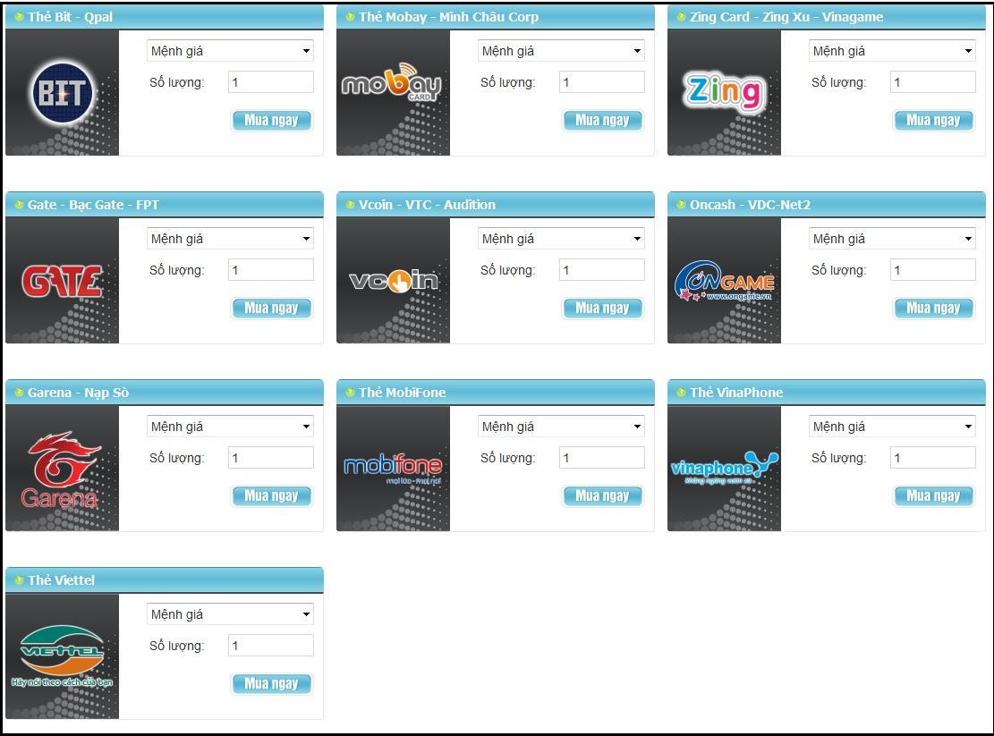 Mua card game online qua Visa/Master card