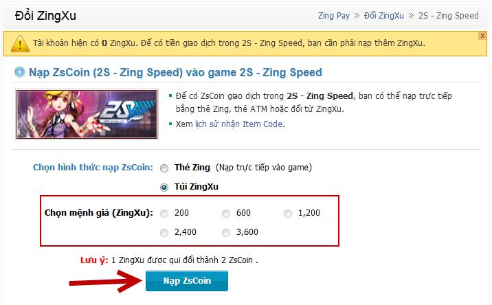 Cần lựa chọn loại Zing Xu phù hợp khi nạp Xu cho mỗi loại game.