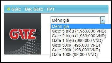Thẻ gate được bán tại website