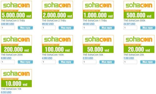 Hướng Dẫn Mua Thẻ SohaCoin Và Cách Nạp Tiền Bằng SohaCoin