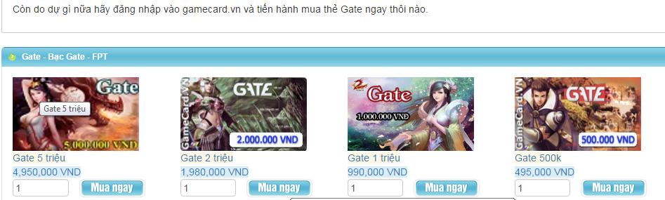 Hình thức và lợI ích khi khi mua thẻ gate online