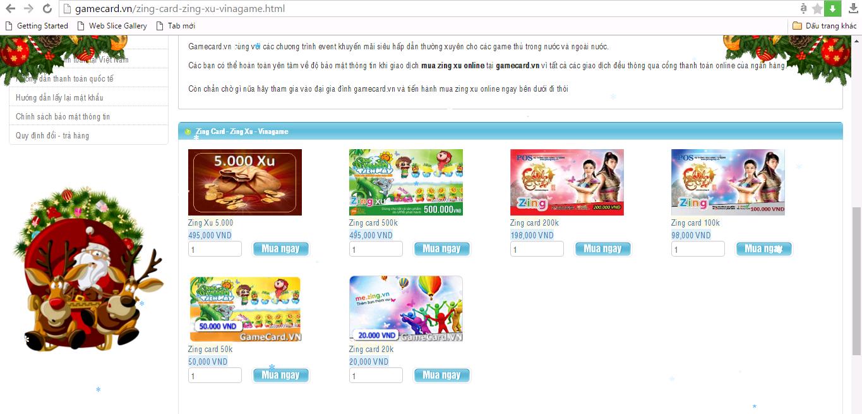 Những mệnh giá Zing/ Zing Xu tại gamecard.vn