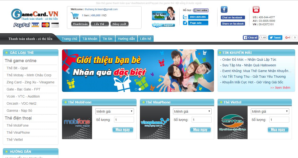 Truy Cập Gamecard Để Mua Thẻ Điện Thoại Online Nhanh Nhất 1