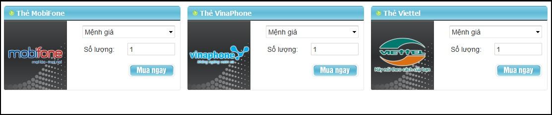 Mua thẻ điện thoại online qua gamecard.vn nhanh chóng và nhiều ưu đãi.