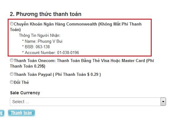 Mua thẻ Garena online và thanh toán qua Commonwealth bank 2
