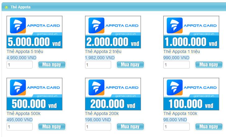 mua thẻ appota bằng paypal có được không?
