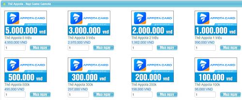 Ở nước ngoài có thể mua thẻ appota đơn giản không