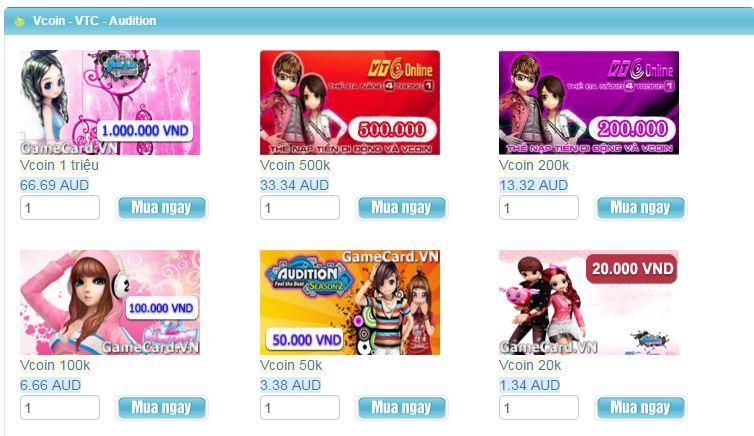 Gamecard.vn - Điểm bán thẻ vcoin online uy tín toàn cầu