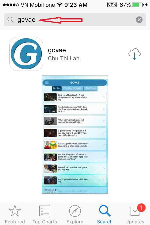 Hướng dẫn tải ứng dụng gcvae trên Iphone